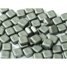 Tile CzechMates 6mm 02010/29403 Alabaster Metallic Steel