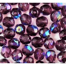 Margele Cehesti Fire-Polish Jet 6mm X20080 Dark Amethyst AB