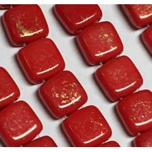 Tile CzechMates 6mm GM93200 Gold Marbled Opaque Red