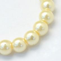 Perle sticla 8mm lemon chiffon
