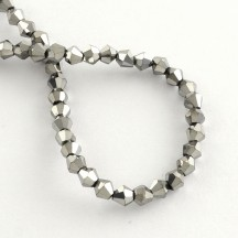 Margele biconice 4x4.5mm silver plated