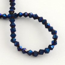 Margele biconice 3x3.5mm blue plated