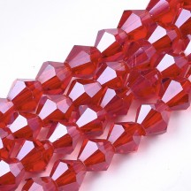 Margele biconice sticla 6x5.5mm red