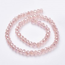 Rondele sticla 8x5mm pink color plated ab