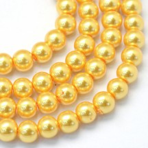 Perle sticla 6mm gold