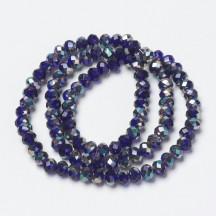 Rondele sticla 6x5mm half rainbow plated dark blue