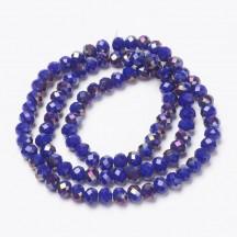 Rondele sticla 4x3mm dark blue half purple plated