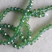 Rondele sticla 6x5mm pale green ab color plated