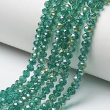Rondele sticla 6x5mm medium sea green half rainbow plated