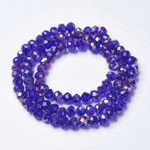 Rondele sticla 6x5mm blue ab color plated