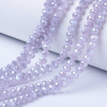 Rondele sticla 2x1.5mm lilac pearl luster