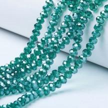 Rondele sticla 3x2mm dark cyan pearl luster