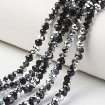 Rondele sticla 3x2mm black half silver plated