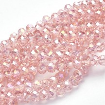 Rondele sticla electroplacate 6x4mm Pink
