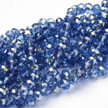 Rondele sticla electroplacate 6x4mm Cornflower Blue