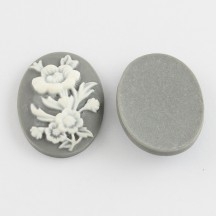 Caboson cameo floare gri 29.5x21.5mm
