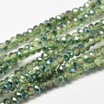 Rondele sticla electroplacate 3x2mm Light Green