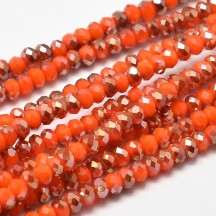 Rondele sticla electroplacate 4x3mm Orange Red