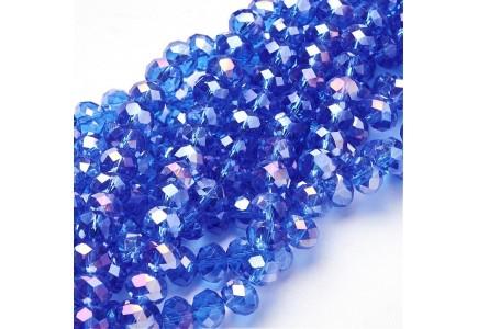 Rondele sticla electroplacate 8x5mm Royal Blue