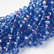 Rondele sticla electroplacate 8x5mm Blue