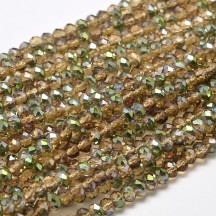 Rondele sticla electroplacate 3x2mm Goldenrod