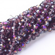 Rondele sticla electroplacate 8x5mm Medium Purple