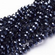 Rondele sticla electroplacate 8x5mm Black