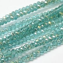 Rondele sticla electroplacate 3x2mm Pale Turquoise