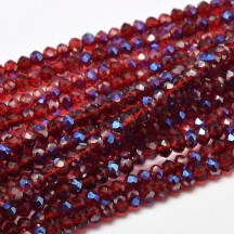 Rondele sticla electroplacate 3x2mm Red