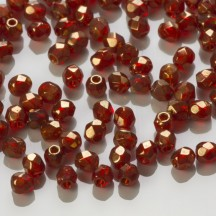 Margele Cehesti Fire-Polish 3mm LZ90080 Siam Ruby/Bronze