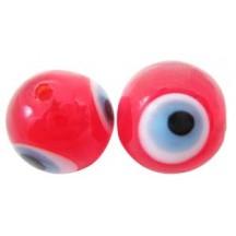 Margele Handmade Lampwork Red Evil Eye 6mm