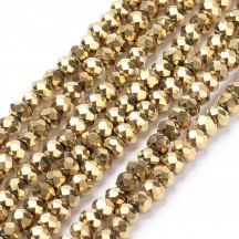 Rondele Sticla 3x2mm Golden Plated