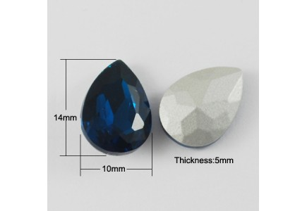 Lacrima Sticla 14X10X5mm Marine Blue