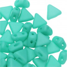 Margele Kheops Par Puca 6x6mm Opaque Green Turquoise Silk Mat 29569