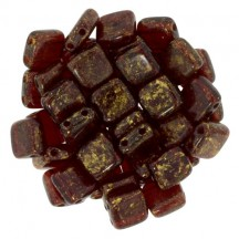 Tile CzechMates 6mm GM90100 Gold Marble Ruby