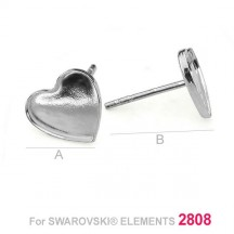 Baza cercei tip surub cu platou in forma de inima  10mm