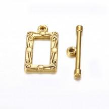 Inchizatoare toggle auriu antichizat rectangulara 20mm