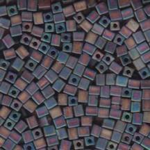 Miyuki Cube 4mm Transparent Frstd Rainbow Dk Amber 0134FR