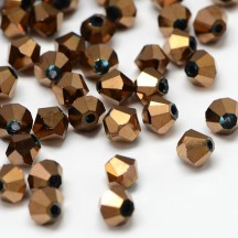 Margele Biconice Sticla 4mm Copper Plated