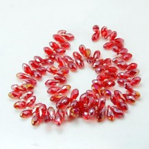 Margele Sticla13x6mm Drop Red AB