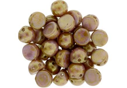 CzechMates Caboshon AK03000 Luster Opaque Gold/Rose Topaz